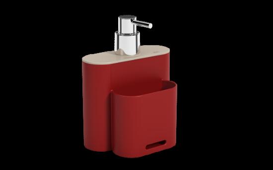 Afbeeldingen van COZA ZEEPDISPENSER 500ML FLAT BOLD RED+LGREY